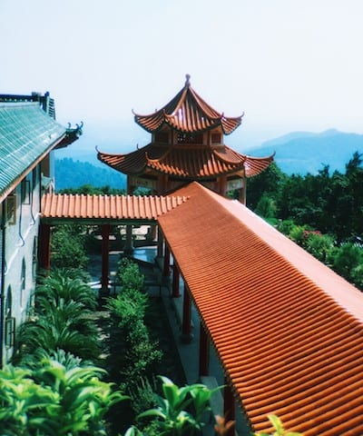 Photo of the roofline at the LuoFu Shan temple